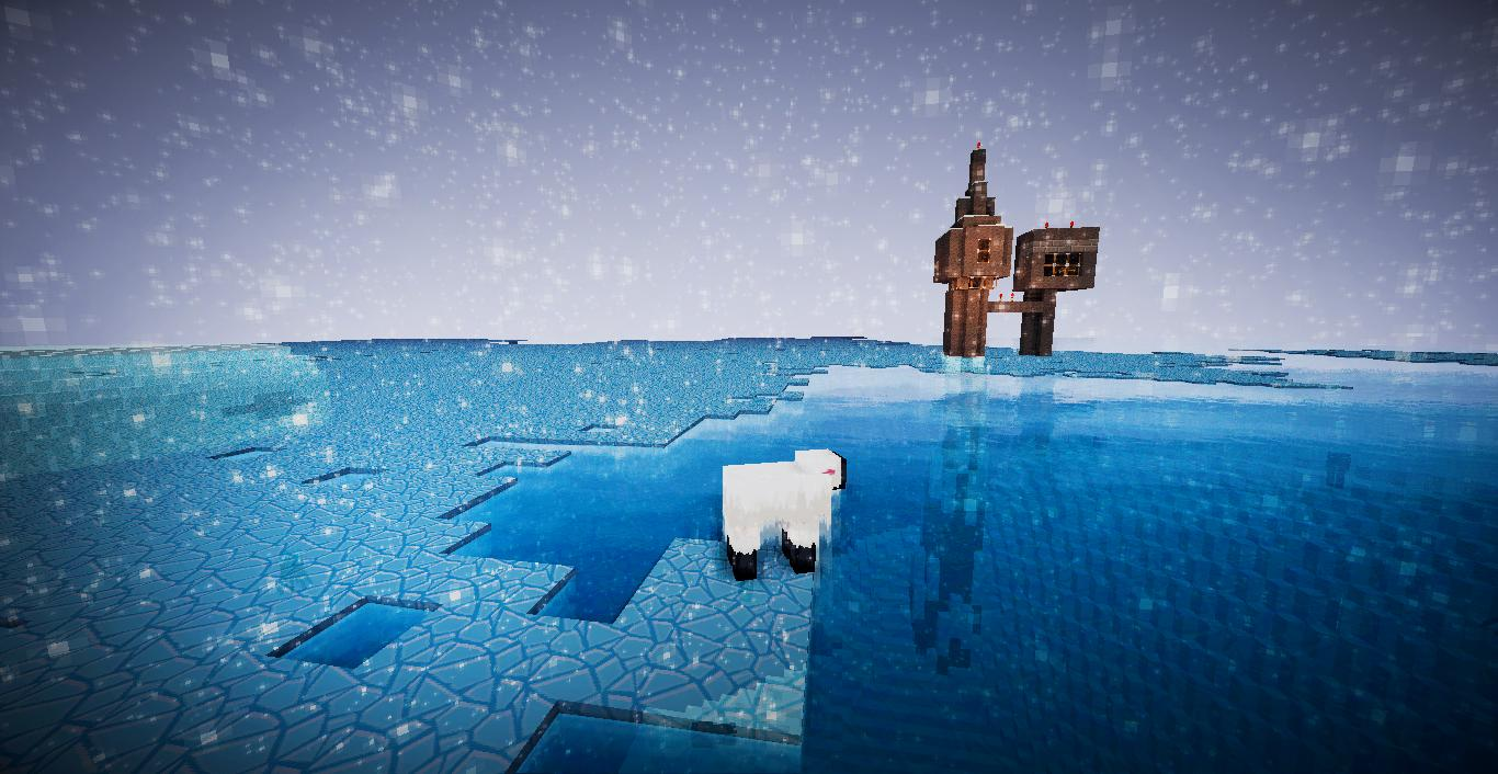 A screenshot of the map with a solitary sheep centred in the middle of an icy ocean