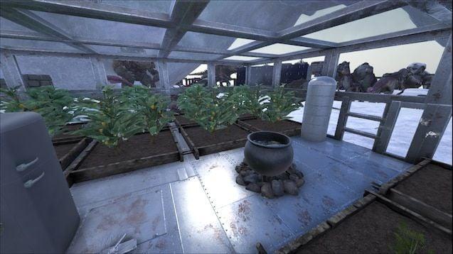 A screenshot of a farm in Ark
