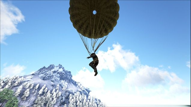 A screenshot from Ark of a player using a parachute to glide to the ground