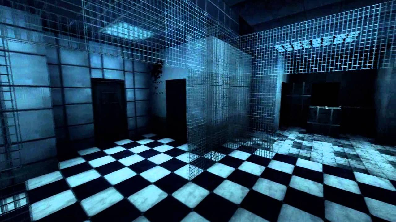 A screenshot from the map of a relatively empty room with blood on the walls