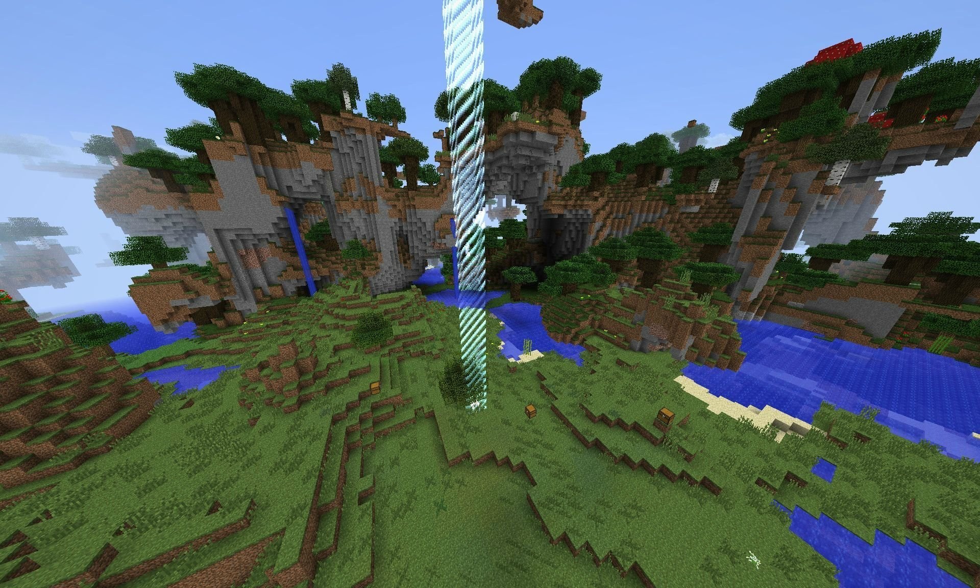 A screenshot showing the first world border that you're stuck inside before completing any challenges