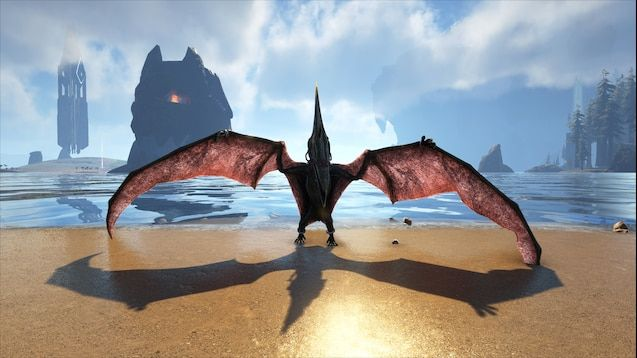 A screenshot from the game of a winged dinosaur spreading its wings out