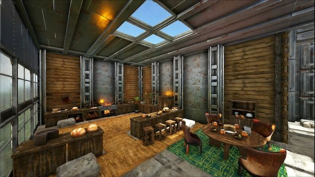 A screenshot of gameplay showing a kitchen and dining area using lots of custom decor from the mod