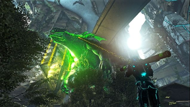A giant Godzilla like creature from the Primal Fear mod being shot by a player