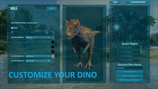 A screenshot of the mod's dinosaur customisation menu