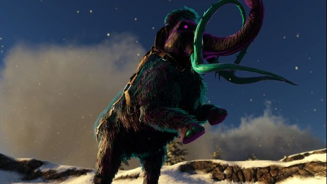 A screenshot of a zombie woolly mammoth with its 2 front legs raised into the air
