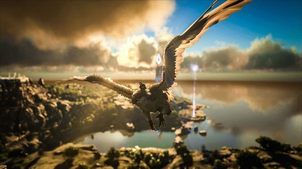A screenshot of a player flying on a giant bird above the Ragnarok map
