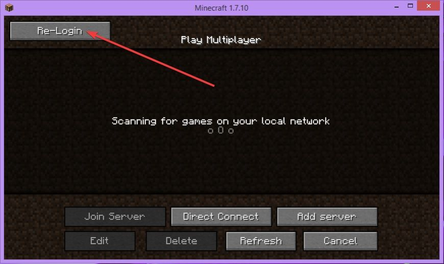 """A screenshot showing the ReAuth mod button in the Minecraft game client allowing players to """"re-login"""" without closing their client"""