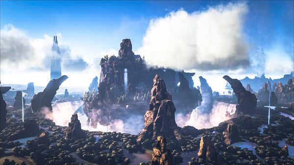 A screenshot from the map showing the central island surrounding by waterfalls and swampland