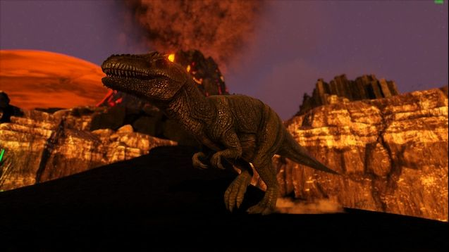A screenshot from the map showing a dinosaur taking centre stage as the volcano spews ash into the sky in the background