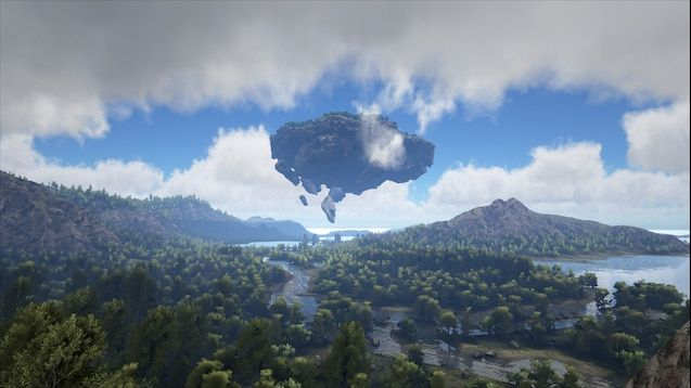 A screenshot from a section of the map showing a large island floating in the sky