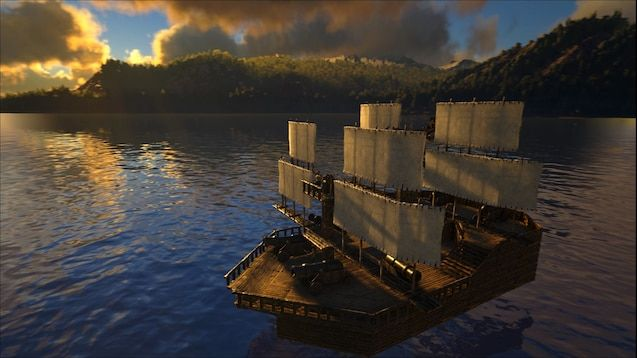 A screenshot of a wooden battleship sailing slowly across a lake