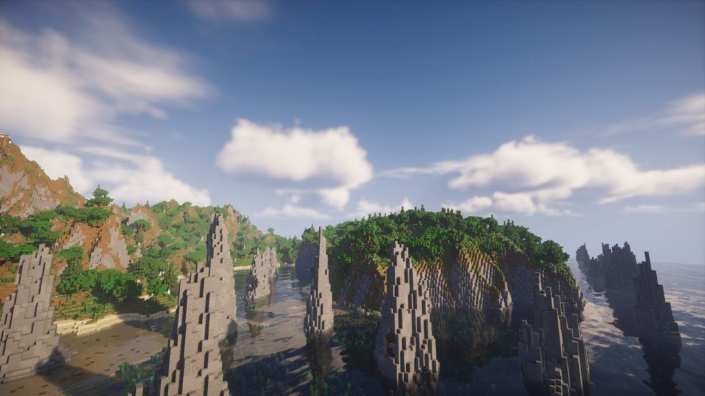 A screenshot showing one of the maps custom biomes, with unique stone spikes and dense jungle