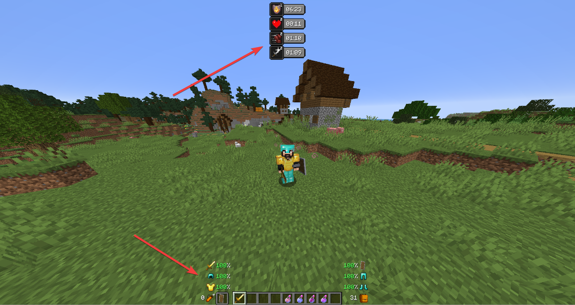 A screenshot showing potion effects and armour durability visible on screen without opening the inventory