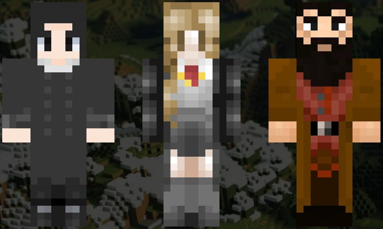 An image showing the Minecraft skins of Snape, Hermione Granger, and Hagrid