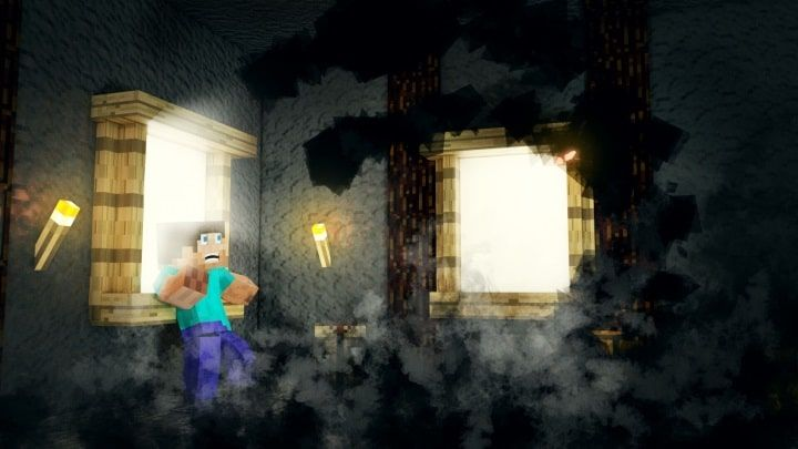 A render showing Steve facing off against a ghost-like monster