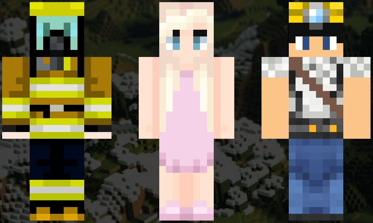 An image showing the Minecraft skins of firefighter, a ballerina, and a miner