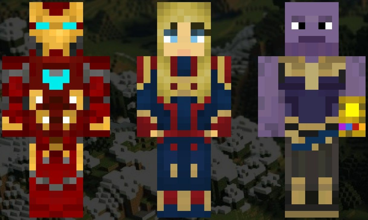 An image showing the Minecraft skins of Iron Man, Captain Marvel and Thanos