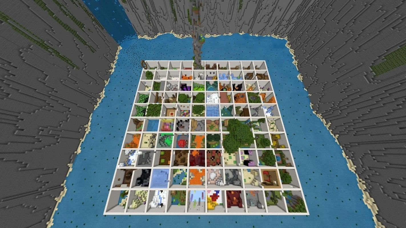 A screenshot from the map showing a sky view of each parkour level