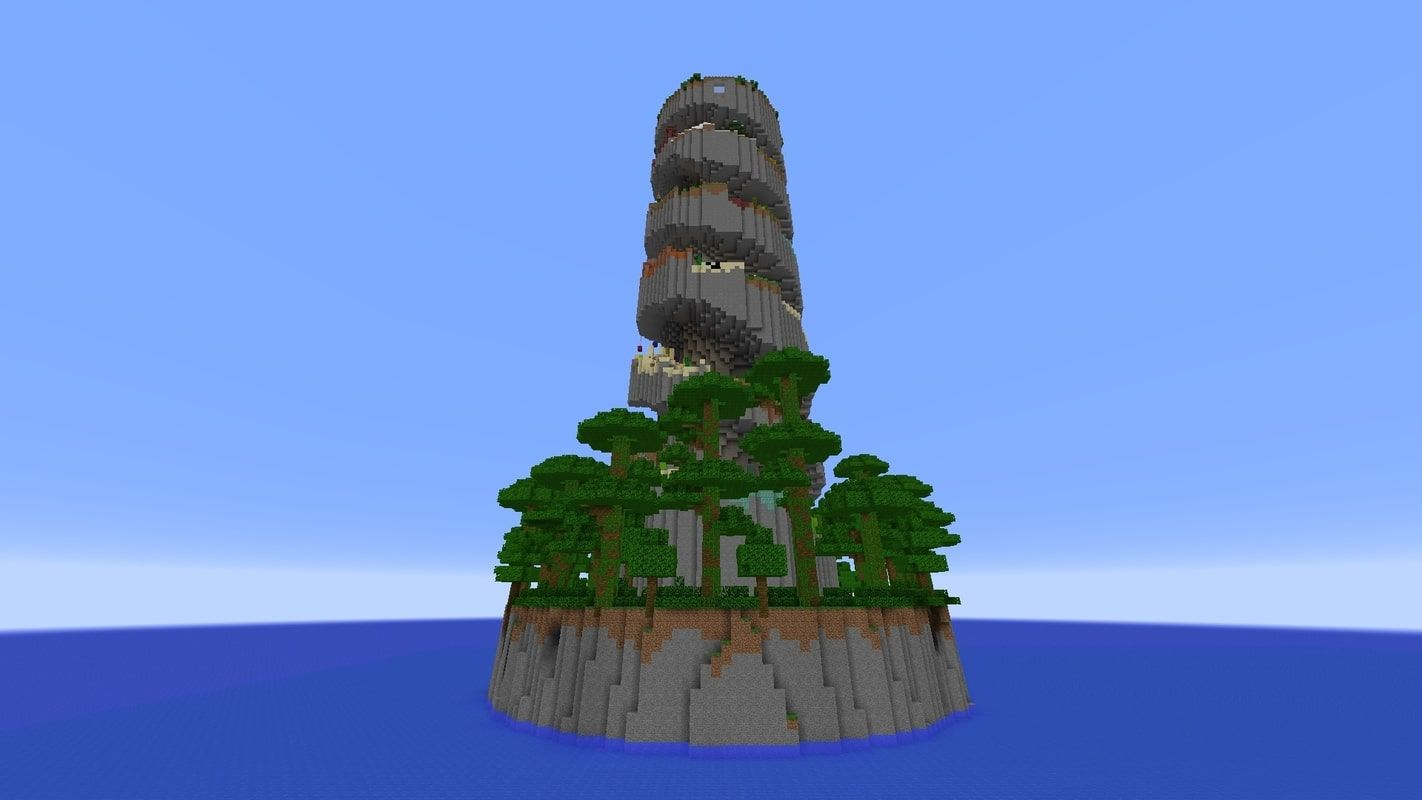 A screenshot showing the map from a distance, with the pillar spiralling into the sky