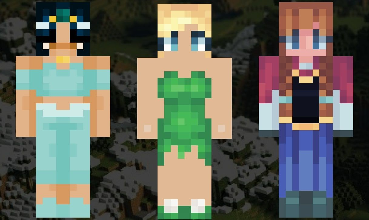 An image showing the Minecraft skins of Jasmine, Tinkerbell, and Anna