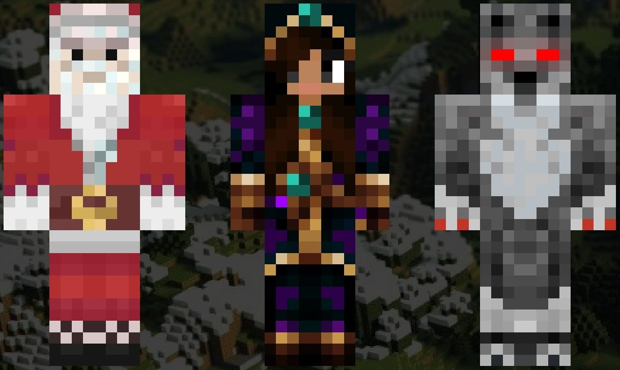 An image showing the Minecraft skins of Santa Claus, a witch, and a werewolf
