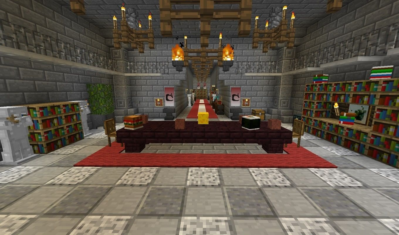 A screenshot from one of the levels of the puzzle maps showing a room inside a castle