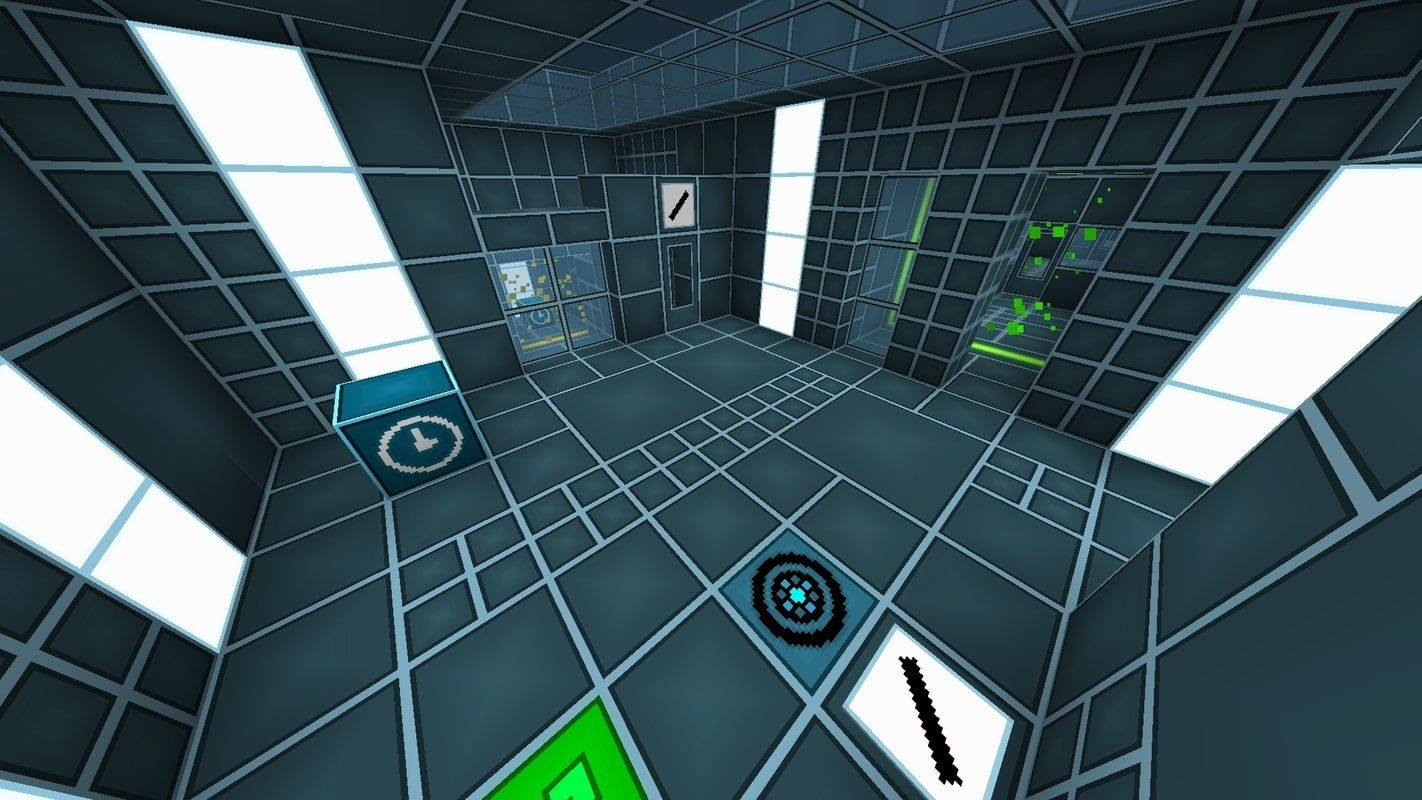 A screenshot from the puzzle map showing one of the puzzle rooms with custom items and a custom resource pack