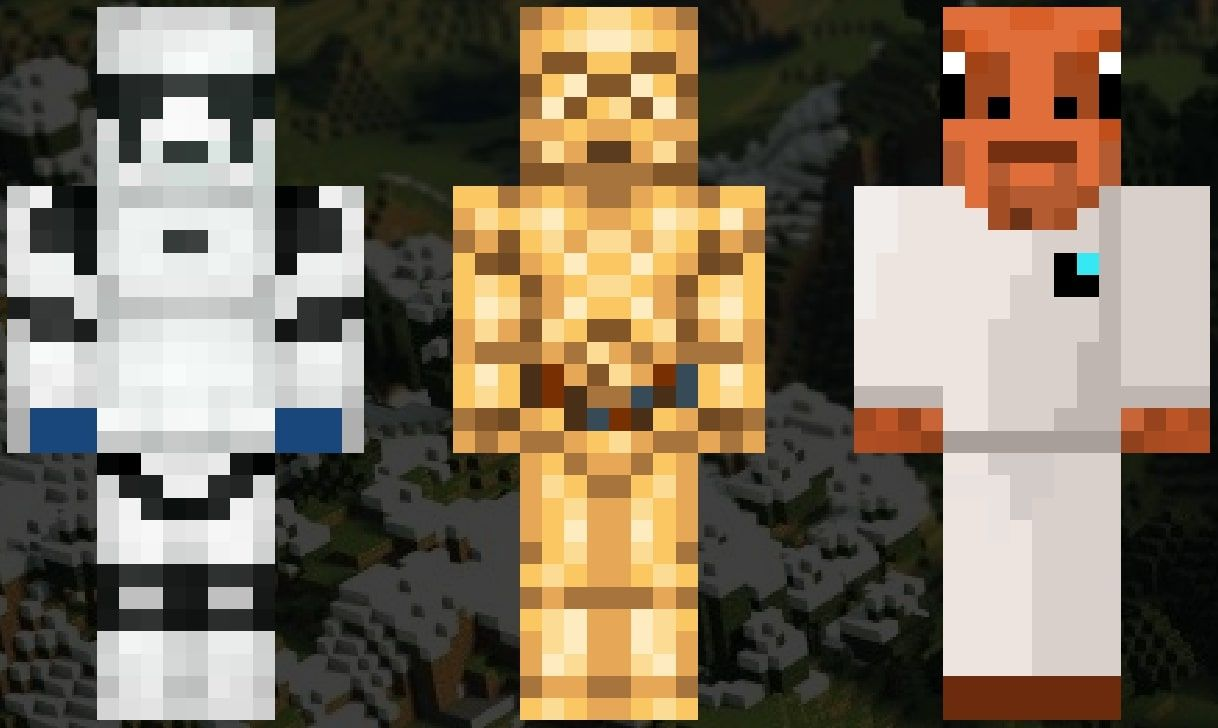 An image showing the Minecraft skins of a Stormtrooper, C-3PO, and Admiral Ackbar