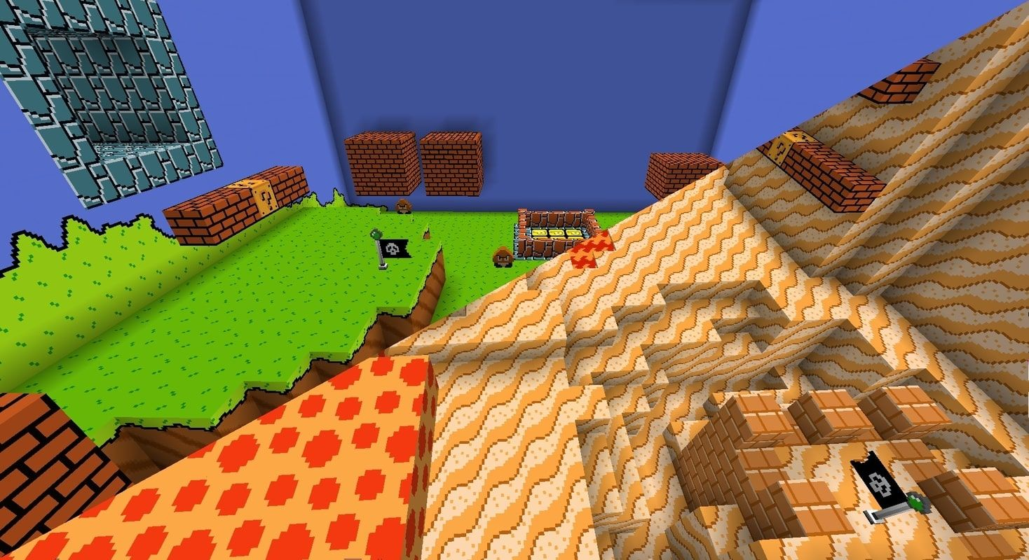 Two screenshots from the map spliced together to show off the custom resource pack