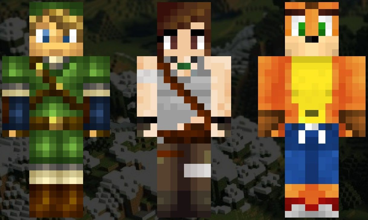 An image showing the Minecraft skins of Link, Lara Croft, and Crash Bandicoot
