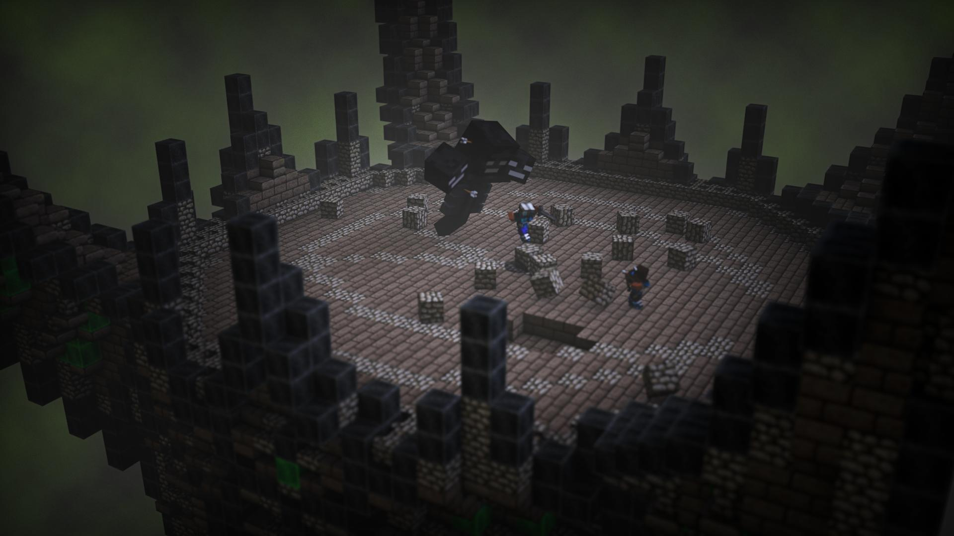Players fighting the wither in a custom made arena.