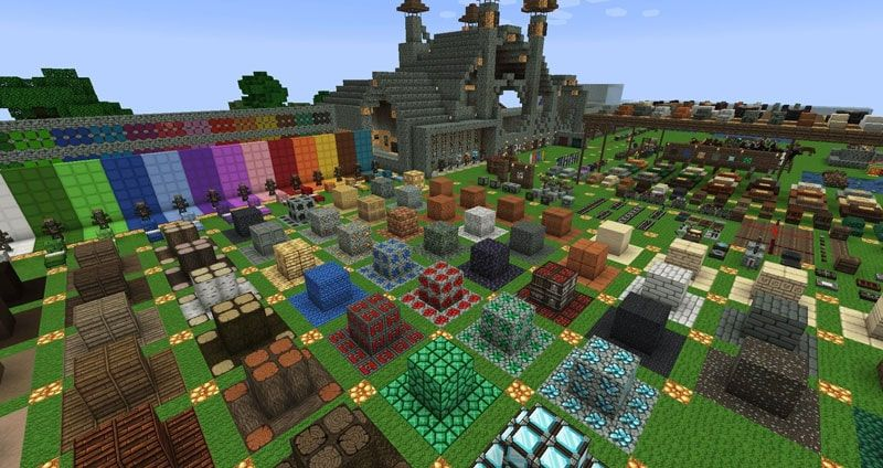 A screenshot from a resource pack testing world with the Dokucraft Light resource pack being used in game
