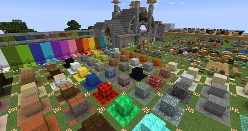 A screenshot from a resource pack testing world with the Faithful resource pack being used in game