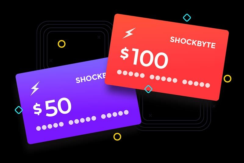 Shockbyte Minecraft game server gift cards.